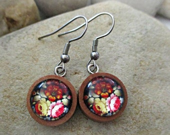 Flower Earrings | Handmade Wood Earrings | Floral Earrings | Dangle Earrings | Spring | Summer | Birthday Gift | Teen Gift | Gardener Gift