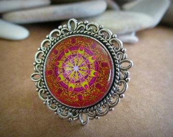 Mandala Ring | Adjustable | Silver | Glass Dome Cabochon | Orange | Fuchsia | Yellow | Kaleidoscope | Boho | Bohemian | Filigree | Chunky