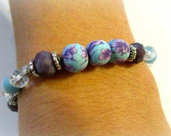 Purple Orchic Bracelet | Polymer Clay Beads | Light Blue Bracelet with Purple Flowers | Purple Glass Bracelet | Stackable Bracelets | Agate