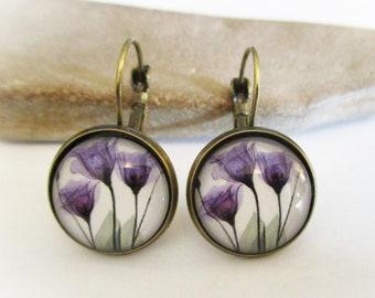 Purple Crocus Earrings | Bronze Lever Back Earrings | Crocus Flower Earrings | Mothers Day Anniversary Birthday | Gifts for Mom Girlfriend