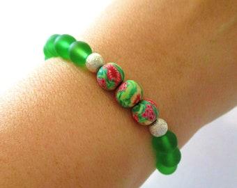 Green Bracelet | Stretch Bracelet | Polymer Clay | Green Glass | Flower Bracelet | Birthday | Best Friend | Girlfriend | Stackable Bracelets