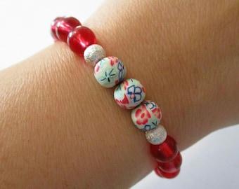Red Flower Bracelet | Stretch Bracelet | Polymer Clay | Red Glass | Lotus Bracelet | Birthday | Best Friend | Girlfriend | Stack | Christmas