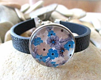 Flower Bracelet | Black Leather Bracelet | Glass Dome Cabochon | Birthday Friendship Valentines Day Mothers Day Gift Spring Summer Jewelry