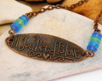 All You Need Is Love Necklace Copper Sea Glass Necklace Inspirational Quote Motivational Quotes Love Quotes Beach Jewelry Delicate Necklace