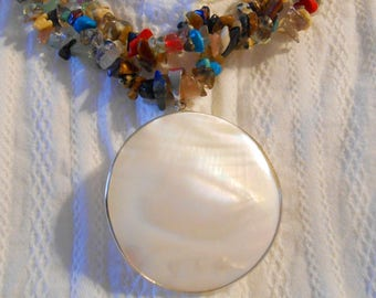 Mother of Pearl Statement Necklace Multi-strand Chunky Crystal Stone Gemstone June Birthstone 30th Anniversary Mother
