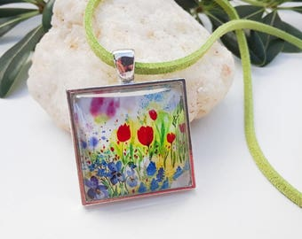 Art Glass Cabochon Pendant Red Tulips Blue Irises Floral Print Square Glass Dome Necklace Easter Jewelry Spring Birthday Mother's Day Gift