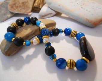Teal & Black Agate Elastic Stretch Bracelet Elegant Teal Gemstone Jewelry Boho Beaded Blue Stone Bracelet Bolivian Jewelry Gifts Under 20