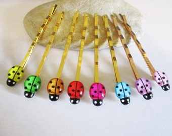 1 Pair Gold Bobby Pins Set with Cute Colorful Ladybugs in 8 Colors | Hair Pins Hair Accessories for Kids Teens and Women | Insect Jewelry