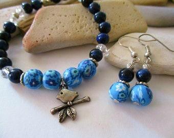 Blue Tigers Eye Bracelet and Earrings | Silver Bird Charm | Polymer Clay Beads | Blue Tigers Eye Earrings | Blue Bracelet Set | Tiger Eye