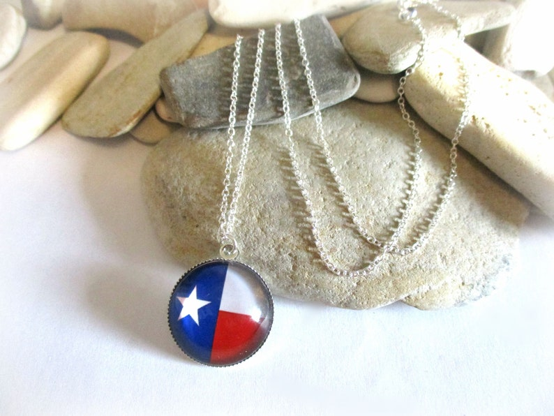 Flag of Chile Texas Flag Necklace Country Western Lone Star Red White and Blue Necklace Dainty Delicate 925 Sterling Silver Chain