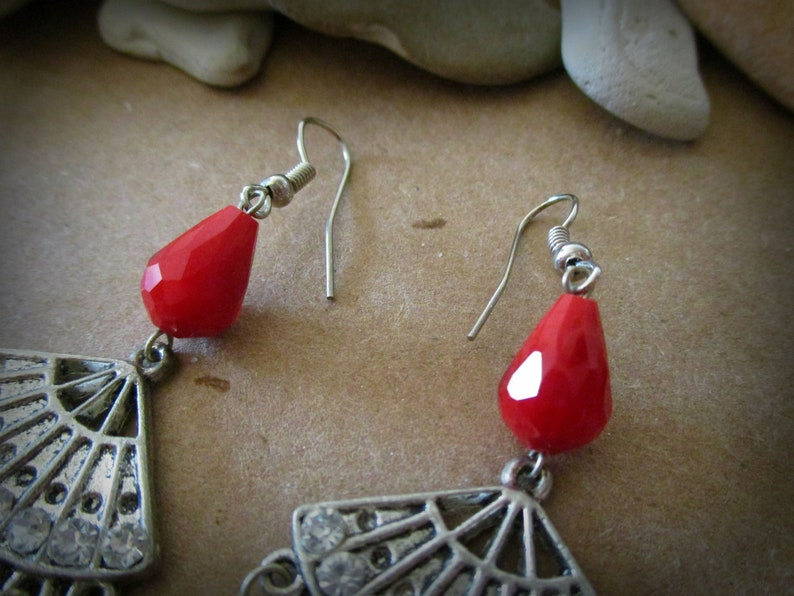 Valentines Day December Gift Red Christmas Earrings Red Glass Teardrop Earrings Long Red Chandelier Earrings with Chinese Fan Charms