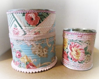 2 Shabby Chic Cans | Decorated Recycled Upcycled Cottage Home Decor | Pink Storage Containers | Desk Organization Little Girls Room Nursery