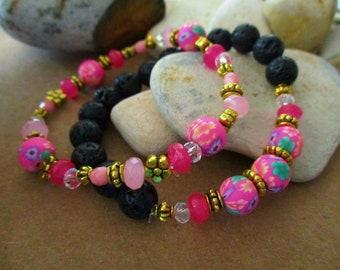 2 Pc Lava Bead Bracelet Set | Hot Pink Polymer Clay Beaded Bracelet | Bright Pink Agate | Stone Bracelet | Stack | Stackable | Pink & Black