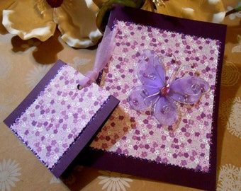 Card & Gift Tag Set | Handmade | Blank | Flowers | Purple | Butterfly | Birthday | Get Well | Thank You | Mothers Day | New Mom | Friendship