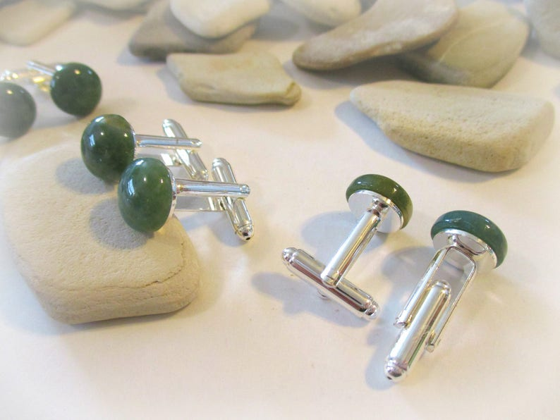 Fathers Day Gifts for Men Bespoke Accessories Natural Stone Groomsman Gift Anniversary Gift Suit Clip Green India Agate Stone Cuff Links