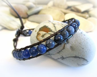 Blue Sodalite Stone Beaded Bracelet | Anklet | Adjustable | Stackable | Bohemian | Leather | Mens | Womens | Casual | Minimalist | Under 20