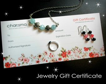 Jewelry Gift Certificate for Christmas Mothers Day Valentines Birthday Wedding Anniversary Long Distance Gifts | Gift Cards Vouchers Coupons