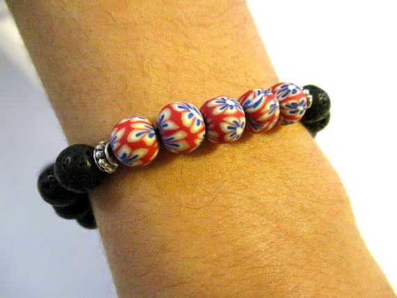 Stackable Stack Stone Bracelet Stacking Red White Blue Polymer Clay Beaded Bracelet with Blue Agate 2 Pc Lava Bead Bracelet Set