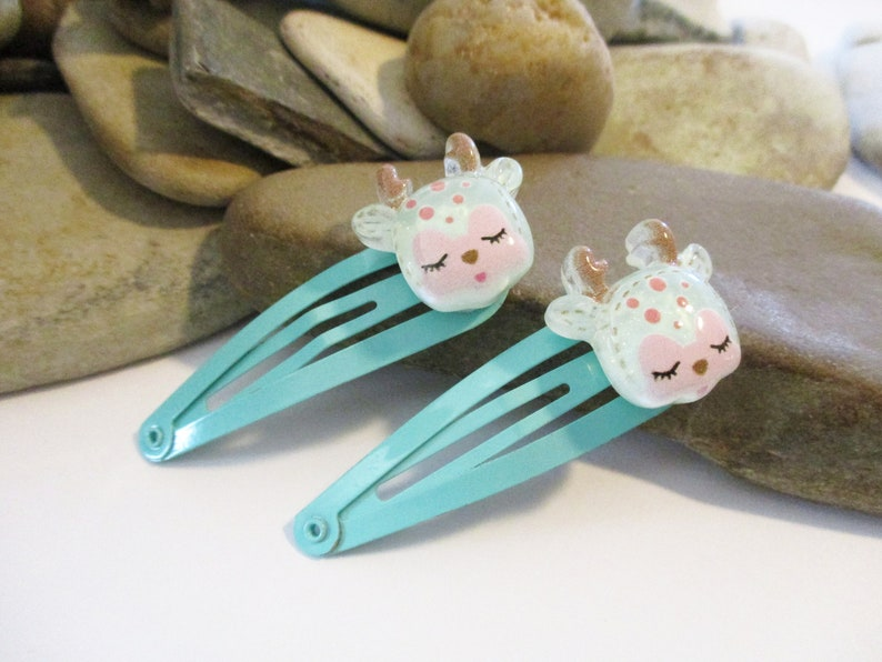 2 Pairs Cute Reindeer Snap Clips in Pink and Mint Green Niece Daughter BFF Granddaughter Gift Hair Accessories for Little Girls Toddlers