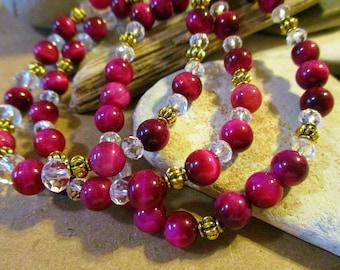 3 Hot Pink Tigers Eye Bracelets Set | Elastic Stretch Stone Bracelets for Women Girls Daughter Wife Sister Friend Birthday Christmas Summer