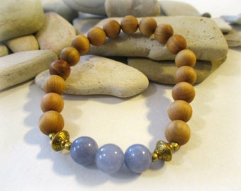 Aromatic Sandalwood Bracelet | Angelite Bracelet | Stretch Bracelet | Stackable Bracelets | Essential Oil Diffuser Bracelet | Blue Stone