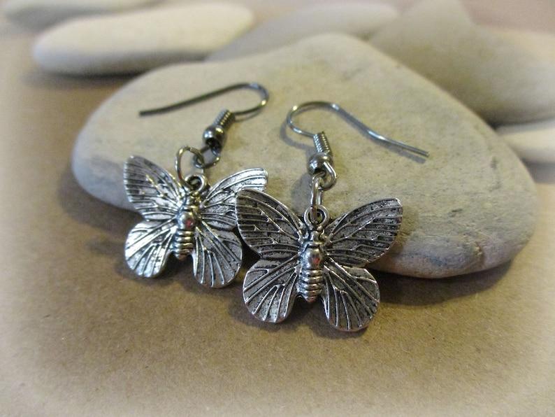 Gunmetal Earrings Insect Jewelry Joy Hope Silver Butterfly Earrings New Beginnings Butterfly Jewelry Hypoallergenic Earrings