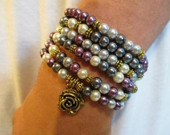 Set of 6 Stackable Bracelets | Rose Bracelet | Purple and Gold Bracelet | Stretch Bracelet | Bracelet Set | Mauve Purple Charcoal Gray White