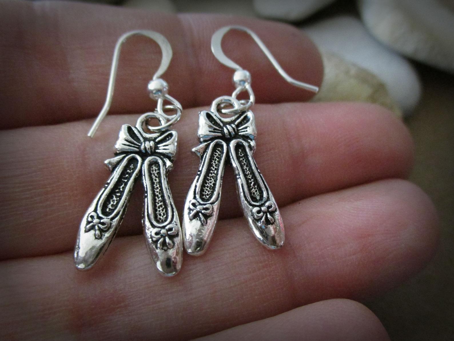 silver ballet slipper earrings | sterling silver | ballet pointe shoes | ballerina flats | ballet earrings | ballet jewelry | ba