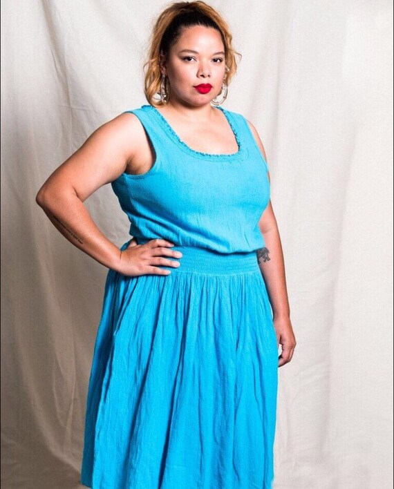 SALE Vintage Plus Size Dress | Gauze Dress | Dress with Pockets | Casual |  Turquoise | 80\'s | Size Extra Large