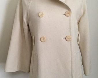 J Crew Peacoat * Classic * Ivory / Cream * Lined * Winter Coat * Medium