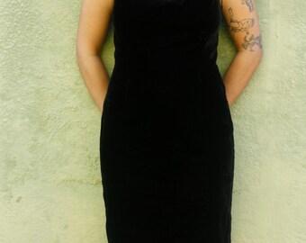Black Velvet Dress * 1990's * Little Black Dress * Vintage * Black * Sheath * Holiday Dress * Size 8