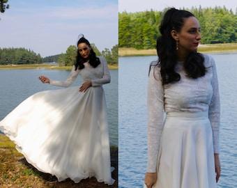 Modest Wedding Dress - Long Sleeve Wedding Dress - Simple Wedding Dress - Lace Wedding Dress - Boho Wedding Dress - Wedding Dress