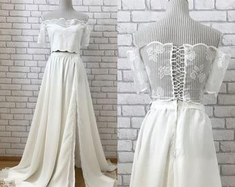 Bohemian Wedding Dress - Beach Wedding Dress - Off The Shoulder Wedding Dress - Wedding Dress - Crop Top Wedding Dress - Lace Wedding Dress