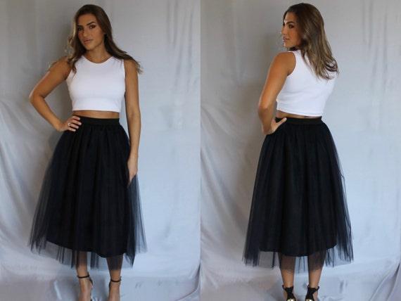 8485ee3240 Black Tulle Skirt Women Tulle Skirt Adult Tulle Skirt   Etsy