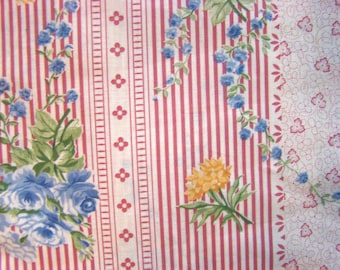 Vintage Dusty Rose/Ivory Stripes/Dusty Blue/Gold Flower Fabric by the Yard - 36 inches x 59 inches