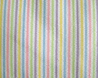 Vintage Pastel Striped Seersucker Fabric by the yard - 36 inches x 59 inches
