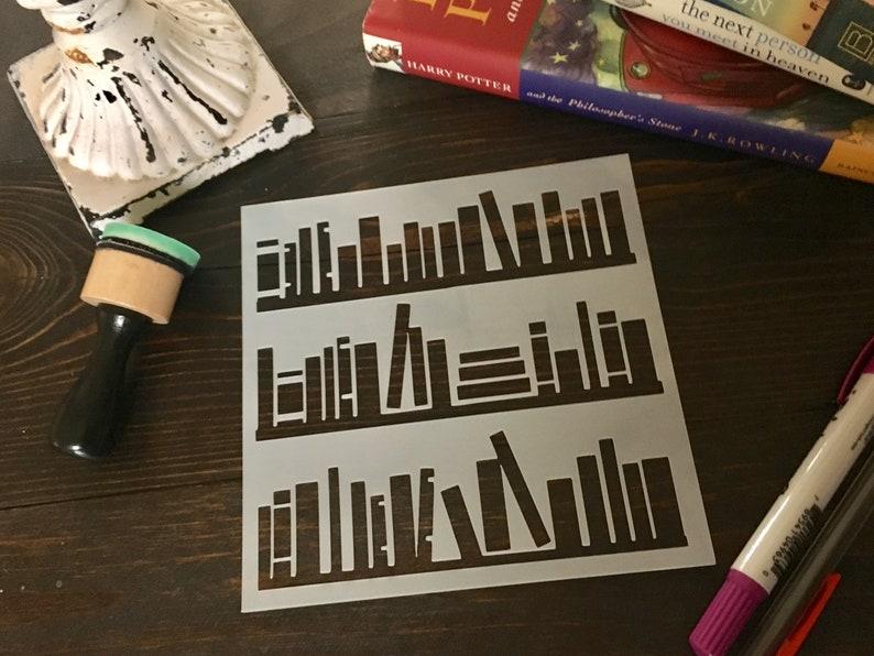 Boekenplank stencil-Art Journal stencil planner image 0