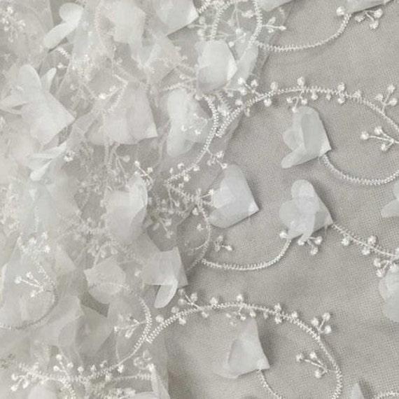 Hof 130 cm Breite Qualität 3D Blossom Bestickten Tüll Stoff In Elfenbein Für Brautkleider, kostüm Design, Wohnkultur