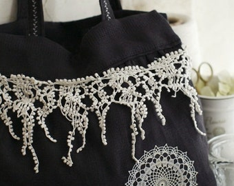 1 Yard Off White Lace Trim Cotton Venice Tassels Teardrop Lace 6.69 Inches Width
