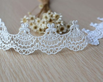 "2 yards Exquisite White Venice Lace Trim Floral  Lace Wedding 1.29"" Width"