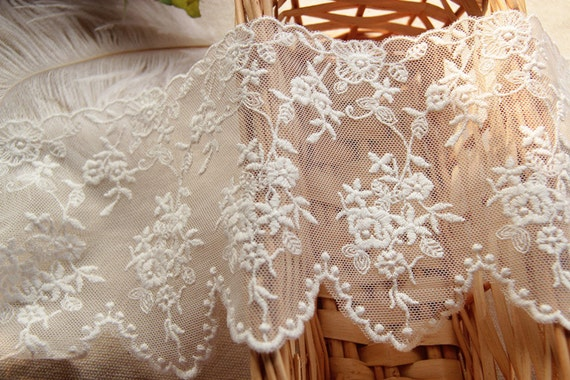 """2 Yards Lace Trim Ivory Tulle Exquisite Embroidery Dots Palace Trim 7.87/"""" width"""