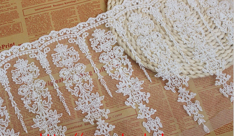 Vintage Embroidered Trims Tulle Lace Edging DIY Dress Skirt Costume Material 1 Y
