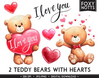 Teddy Bear Clip Art with Hearts and 'I Love You': Watercolor, Digital Download, High Resolution, Clipart, Painting, Cute, Valentine