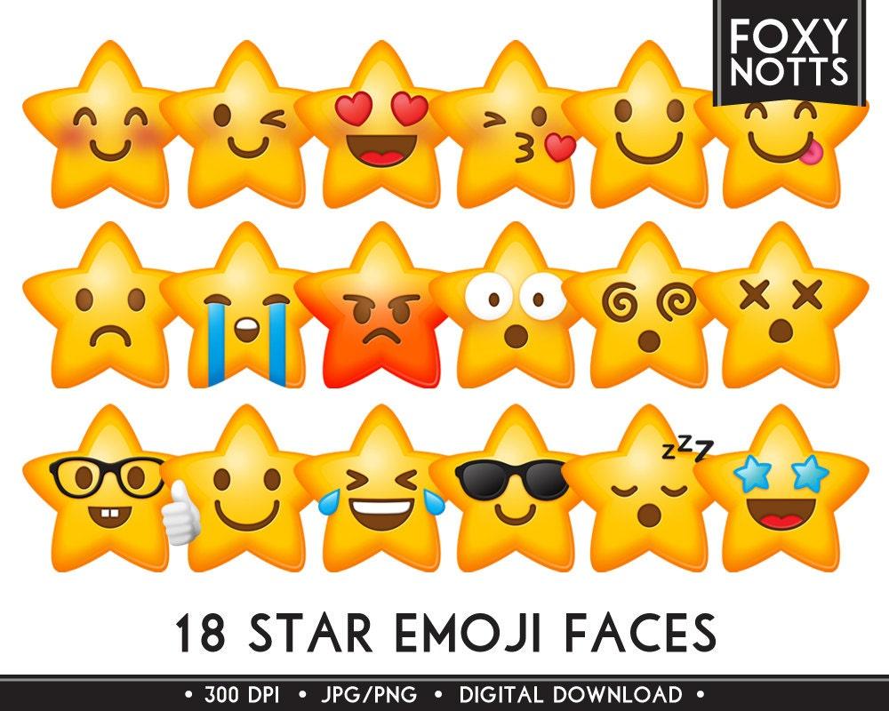 Sterne Emoji Smiley-Gesichter-Clip-Art: Digitaler Download | Etsy