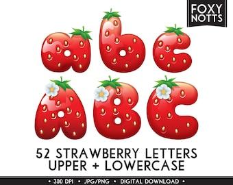 Strawberry Alphabet Clip Art: Digital Download, Font, Clipart, Fruit, Letters, Scrapbooking, Printable,  Graphics, Large