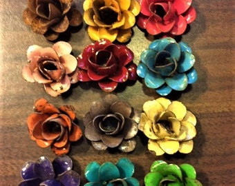 """1"""" Rustic metal rose-approx 1"""" (many colors available) SKU# Rose120"""