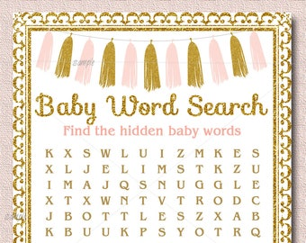 Tassel Baby Shower Game, Word Search Game Printable, Girl Baby Shower, Pink & Gold baby shower game, Gold glitter, Instant Download  012