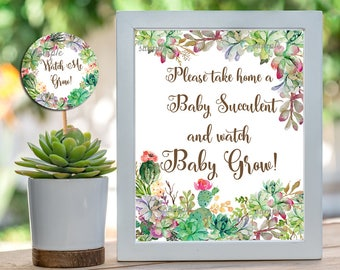 Cactus Baby Shower Sign & Watch Me Grow Favor Tag, Succulent Baby Shower Favor,  Printable Sign = 8x10, tags = 2x2 INSTANT DOWNLOAD  039