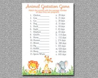 Safari Animal Gestation Game Printable Jungle Baby Shower Pregnancy INSTANT DOWNLOAD 001 A