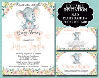 Elephant Baby Shower Invitation Girl Etsy